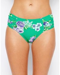 Seafolly Rococo Rose Ruched Side High Waisted Bikini Bottoms - Lyst