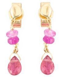 Natasha Collis - Pink Sapphire Drop Stud Earrings - Lyst