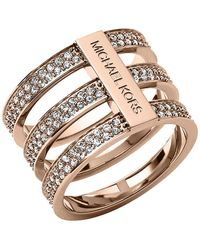 Michael Kors Rose Gold Tone And Crystal Tiered Ring - Lyst