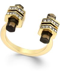 House Of Harlow Gold-tone Smoky Quartz Bar Open Ring - Lyst