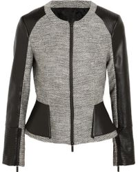 Karl Lagerfeld Abby Metallic Tweed And Faux Leather Peplum Jacket gray - Lyst
