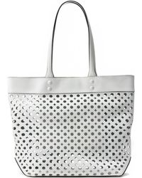 Milly Perforated Leather Tote - Lyst
