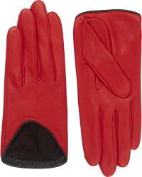 Rag & Bone Lambskin Moto Gloves red - Lyst
