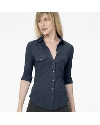James Perse Sheer Slub Side Panel Shirt - Lyst