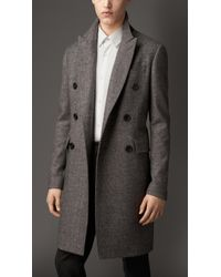 Burberry Sharkskin Wool Blend Topcoat - Lyst