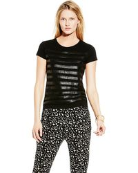 Vince Camuto Top With Faux Leather Stripes - Lyst