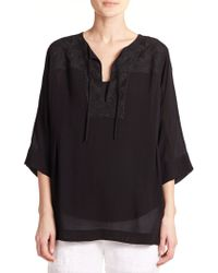 DKNY Embroidered Tunic black - Lyst