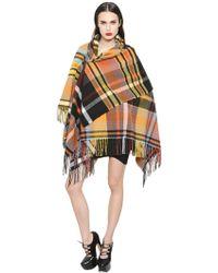 Vivienne Westwood Fringed Plaid Wool Poncho - Multicolour