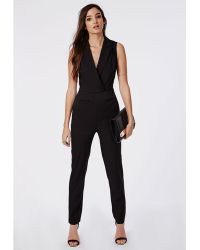 Missguided Sheer Back Tuxedo Style Jumpsuit Black - Lyst