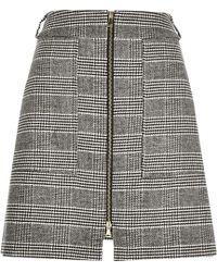 River Island Black Dogtooth Check A-line Skirt - Gray