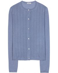 Miu Miu Cashmere And Silk Cardigan - Lyst