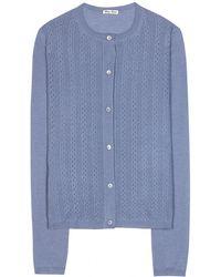 Miu Miu Cashmere And Silk Cardigan blue - Lyst
