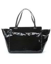Valentino Black Patent Leather Studded Convertible Trapeze Tote - Lyst