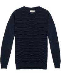 Oliver Spencer Navy Ripple Stitch Crew Sweater blue - Lyst