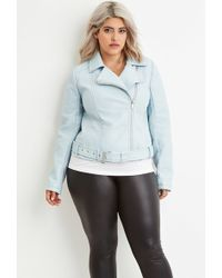 Forever 21 Plus Size Faux Leather Moto Jacket in Blue   Lyst