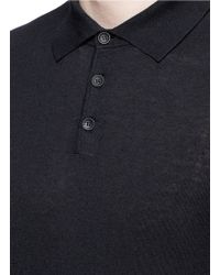 For Long Men Armani Polo Cashmere Shirt Knit Sleeve Lyst Blue Silk In FvxnUOqIwI