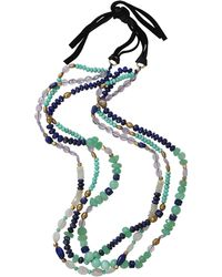 Royal Nomad Jewelry - Two Strand Lapis, Moonstone, And Amethyst Bead Necklace - Lyst