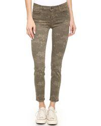 J Brand 620 Mid Rise Skinny Jeans - Olive Drab Camo - Lyst