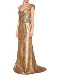 Marchesa Brocade One-shoulder Gown - Lyst