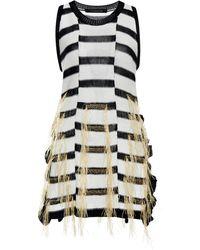 Thakoon Flax Raffia Woven Stripe Knit Tank - Lyst
