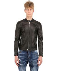DSquared2 Zipped Nappa Leather Moto Jacket - Lyst