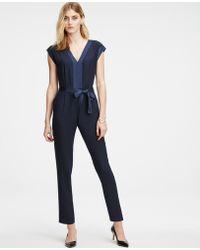 Ann Taylor - Crepe Belted Jumpsuit - Lyst