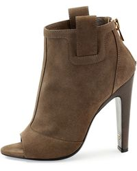 Tom Ford Suede Zip-Back Open-Toe Ankle Boot - Lyst