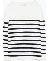 Zara Navy Striped Sweater - Lyst