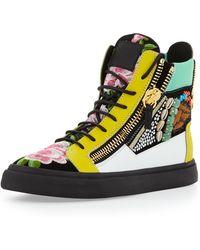 Giuseppe Zanotti Mens Floral Jeweled Zip High-top Sneaker - Lyst