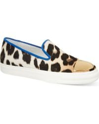 Giuseppe Zanotti Leopard Print Slip On Trainers Brownoth - Lyst