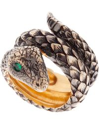 Queensbee - Two Rounds Snake Ring - Lyst