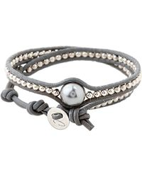 Colana - Leather Wrap Bracelet With Pearl - Lyst