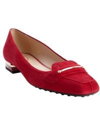 Tod's Red Suede Square Toe Loafers - Lyst