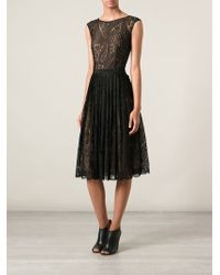 Michael Kors Paisley Lace Pleated Dress - Lyst