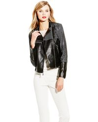 Vince Camuto Black Faux Leather Perforated Moto Jacket