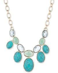 Anne Klein Frontal Stone Necklace - Blue