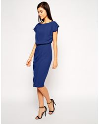 Asos Pencil Dress With Shell Top And Split Front - Lyst
