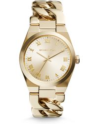 Michael Kors Channing Goldtone Stainless Steel Chain Bracelet Watch - Lyst