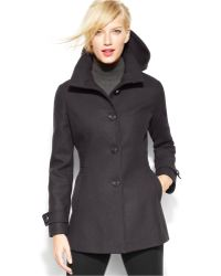 c37c1636e1 Kenneth Cole Reaction - Single-Breasted Hooded Wool-Blend Coat - Lyst