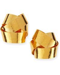 Herve Van Der Straeten Ruban Ribbon Gold Knot Clipon Stud Earrings - Lyst