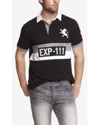 Express Stripe Graphic Large Lion Polo - Lyst