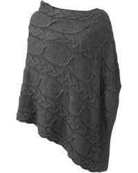 Jigsaw Cable Knit Poncho - Grey