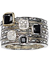 Lord & Taylor - Sterling Silver Onyx And Diamond Ring - Lyst