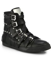Giuseppe Zanotti Studded Leather Buckle & Fringe High-Top Sneakers - Lyst