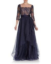 Teri Jon Lace Silk Organza Gown - Lyst