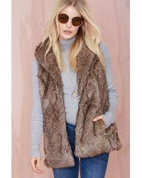 Nasty Gal Boulder Faux Fur Vest brown - Lyst