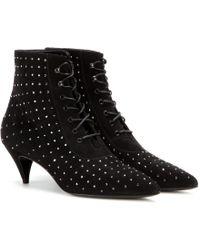 Saint Laurent Cat Embellished Suede Ankle Boots - Lyst