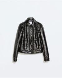 Zara Short Patent Jacket - Lyst
