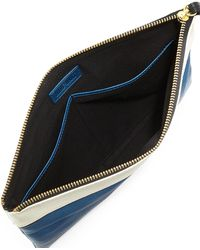 Hare + Hart Papa Leather Pouch Bag - Blue
