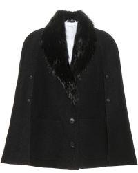Thom Browne Fur-trimmed Wool Cape - Black